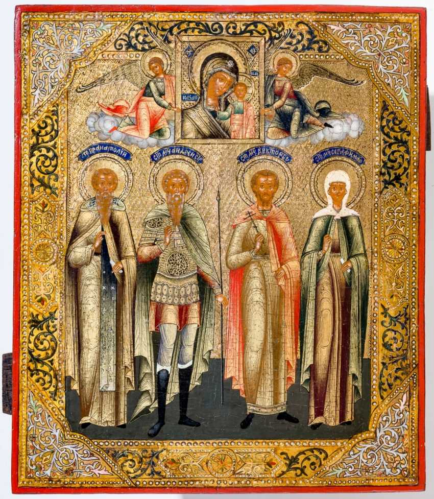 Very rare and finely painted icon of the veneration of the mother of God of Kazan and the saints Anatolios, Andreas Stratelates, Martyr Victor and the Martyr Serafima - photo 1