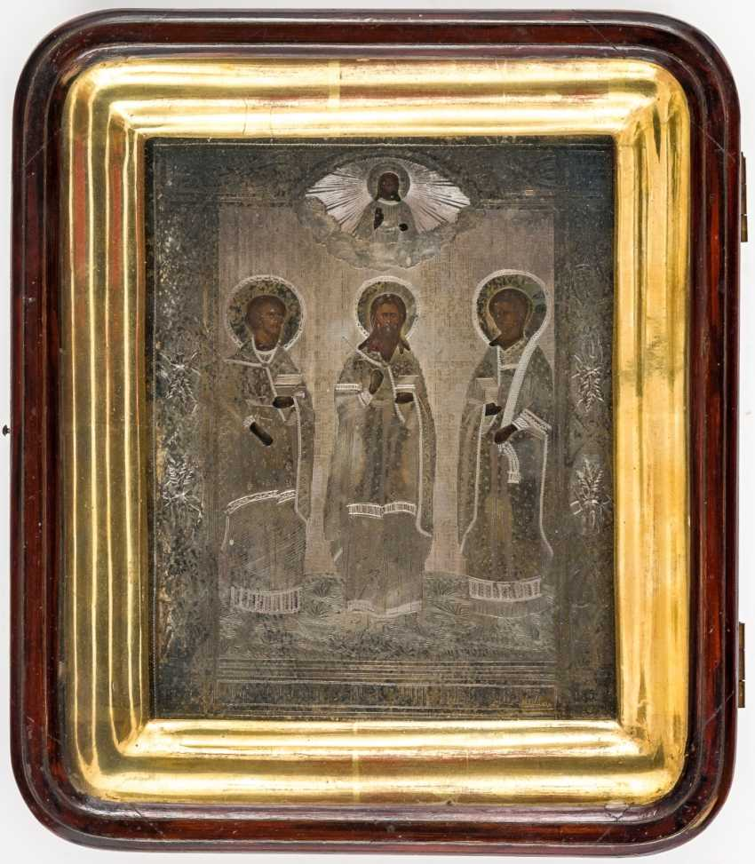 Icon of the wedding of saints Samon, Gury and Aviv with Silberoklad in the icon case - photo 1