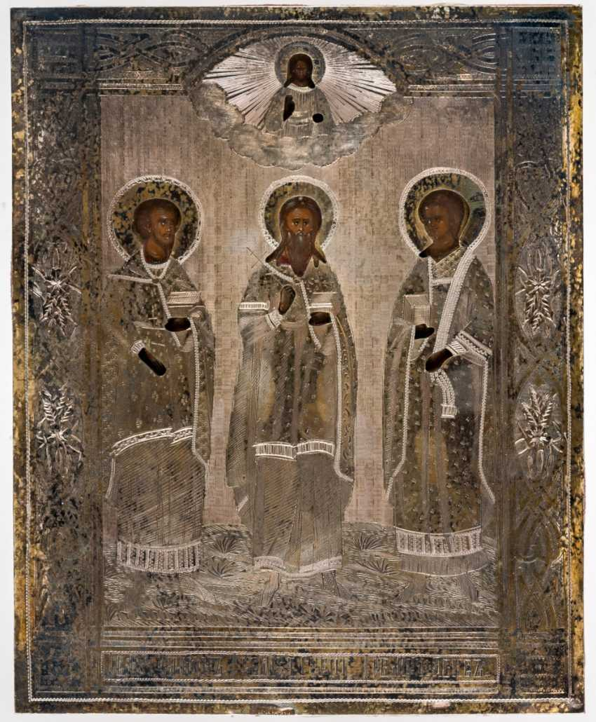 Icon of the wedding of saints Samon, Gury and Aviv with Silberoklad in the icon case - photo 2