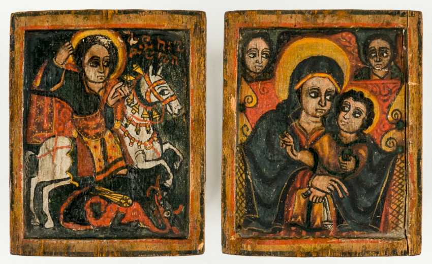 """Icons of a diptych with Saint George and the mother of God """"Salus populi Romani"""" - photo 1"""