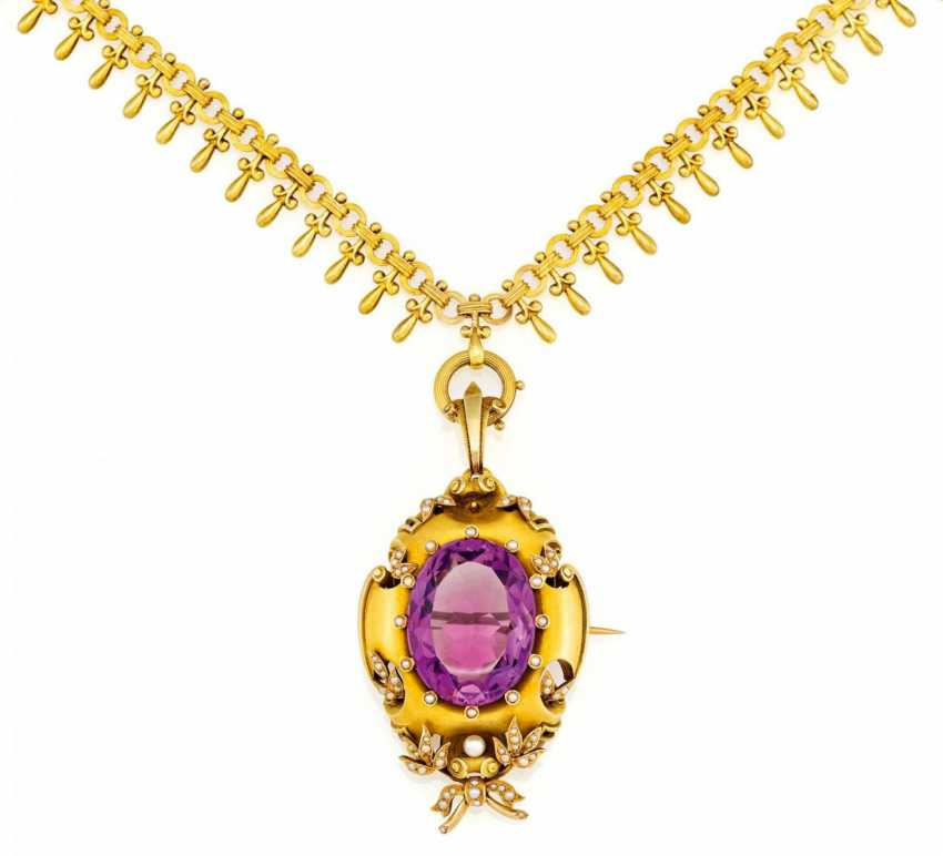 Gold necklace with Amethyst-pearl-pendant/brooch - photo 1