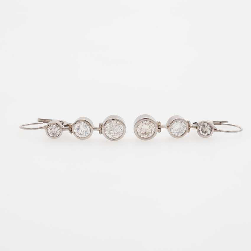 Drop earrings (Pair) with 6 brilliant-cut diamonds - photo 1