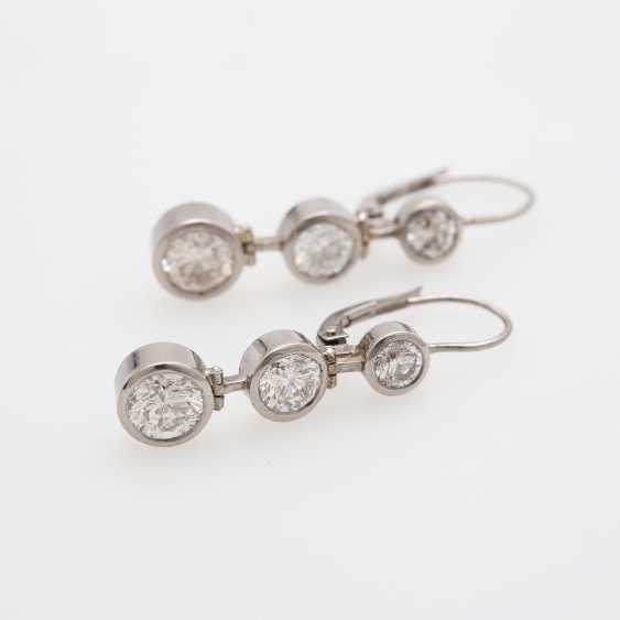 Drop earrings (Pair) with 6 brilliant-cut diamonds - photo 2
