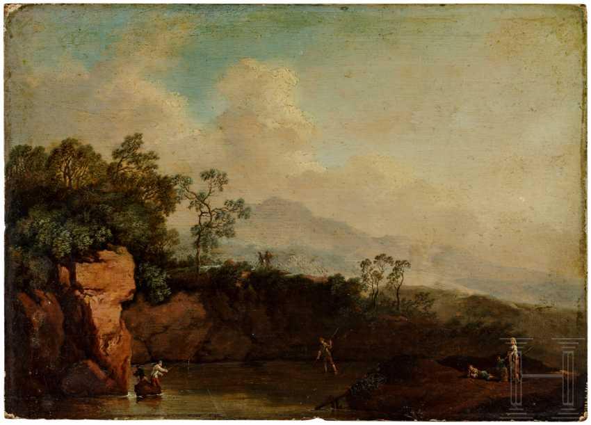 """""""Речной пейзаж с рыбаками"""" - христианский Бог Есть абсолютно (1695 - 1756) отнести - фото 1"""