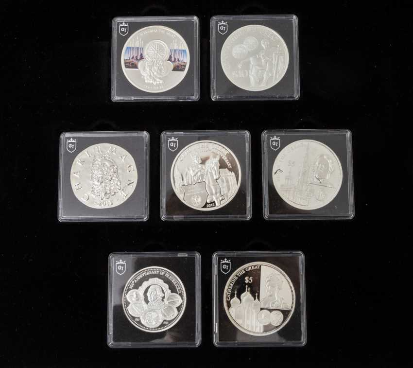 """Beautiful silver collection of coins and medals - 7 x silver coins to the subject of """"The greatest ruler in Europe"""", for example - photo 2"""