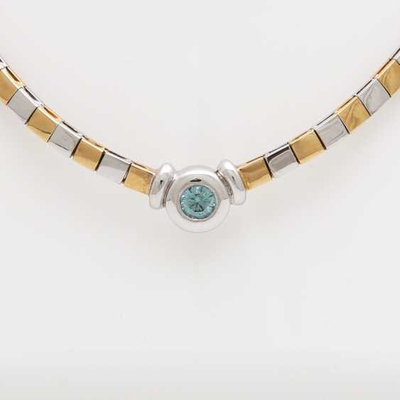 Necklace with 1Brillant turquoise blue (color changed); - photo 2