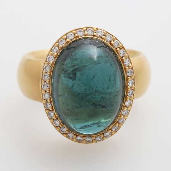 Ladies ring, m. occupied by a blue-green tourmaline, - photo 1