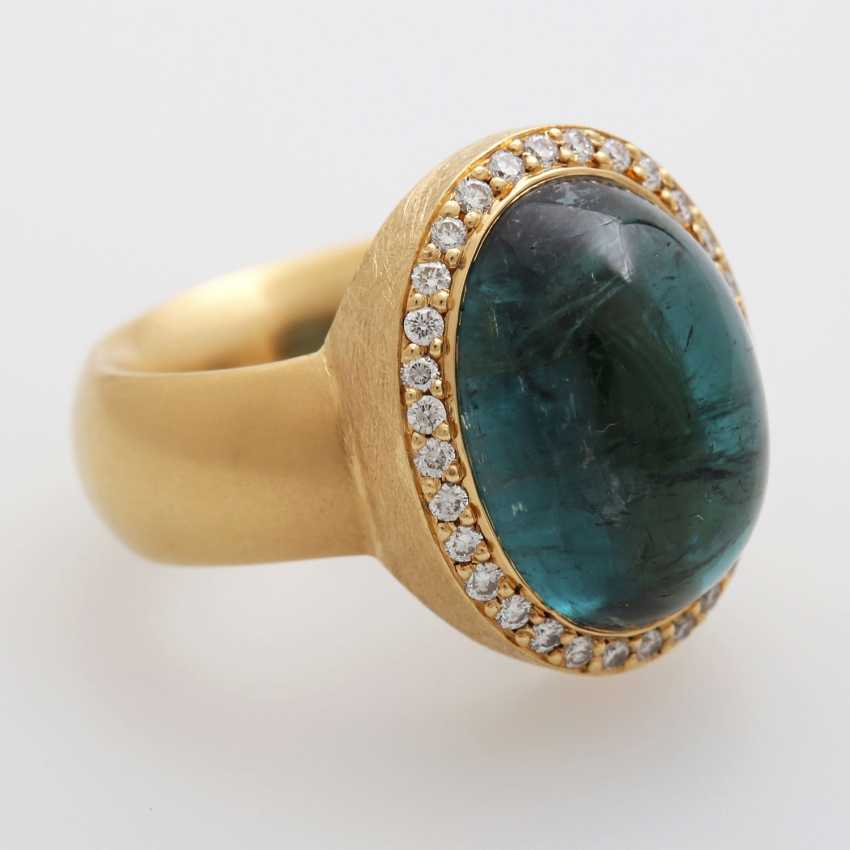Ladies ring, m. occupied by a blue-green tourmaline, - photo 2