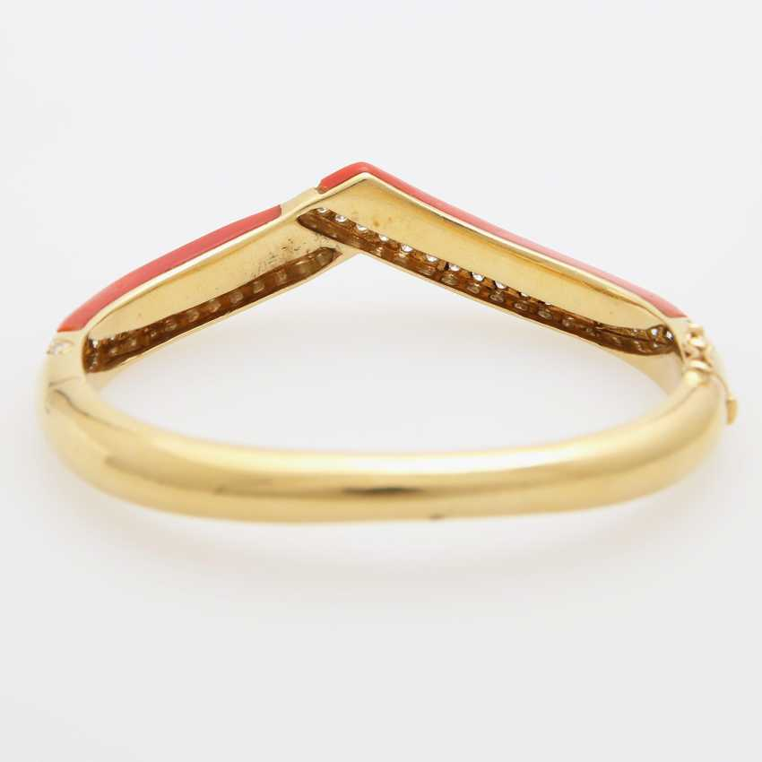 Bangle bracelet with Coral inlay - photo 4
