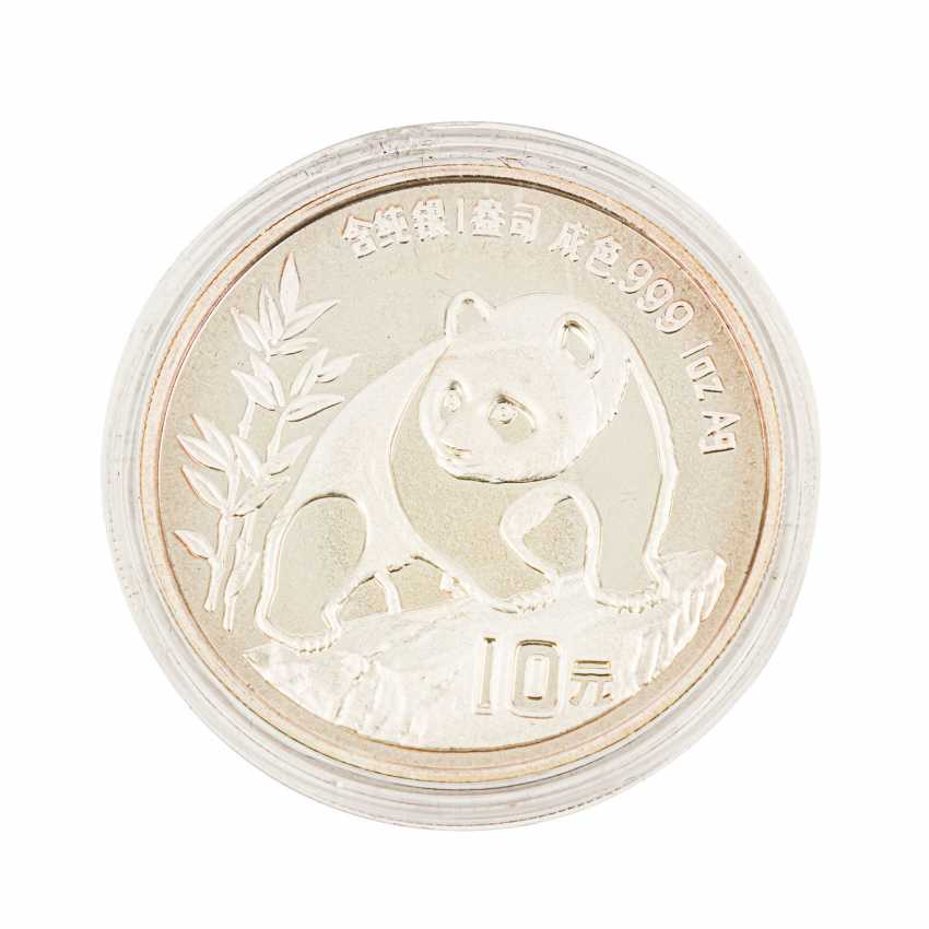 Chine - 10 Yuans 1990 Panda, 1 Unze Silber fein, - photo 2