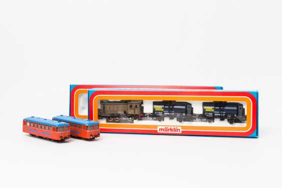 "MÄRKLIN freight train pack ""Olio Fiat"" 2842 and rail bus with trailer car 3140, gauge H0, - photo 1"