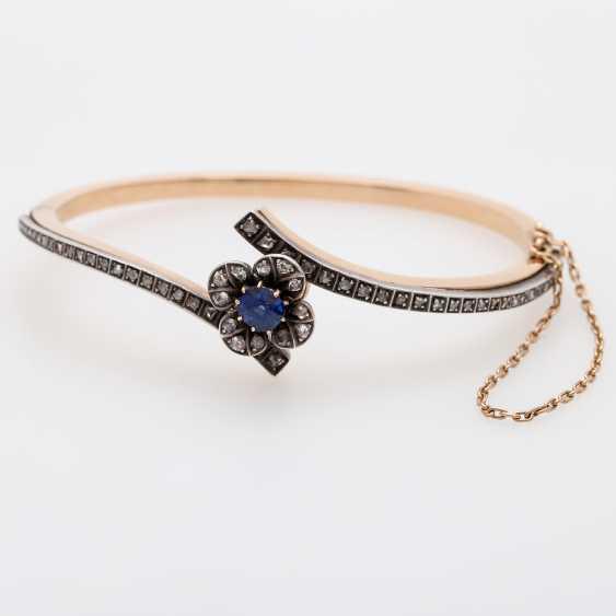 Gold bangle with sapphire and diamonds, - photo 1