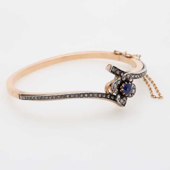 Gold bangle with sapphire and diamonds, - photo 2