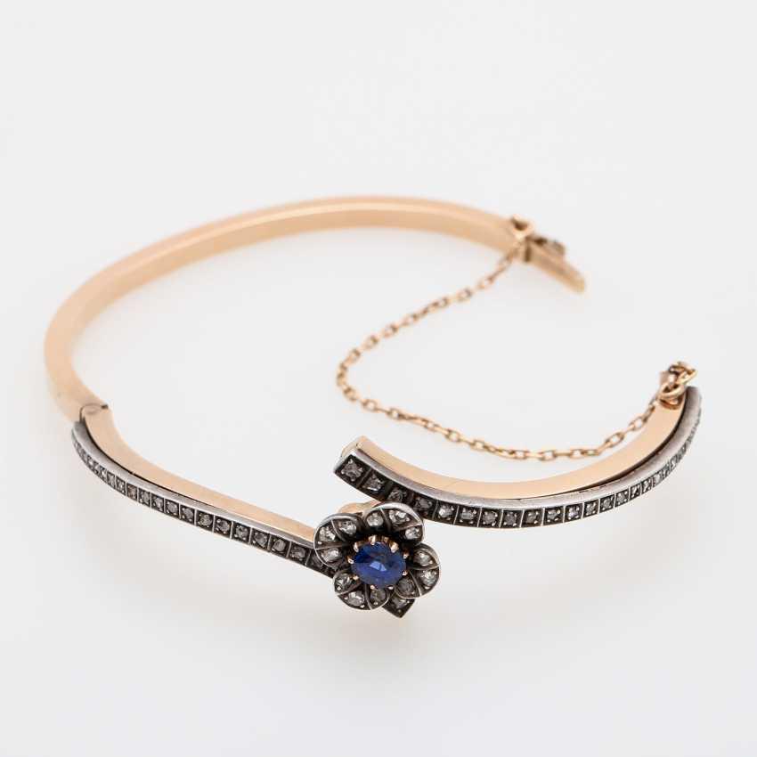 Gold bangle with sapphire and diamonds, - photo 4