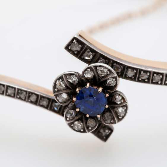Gold bangle with sapphire and diamonds, - photo 5