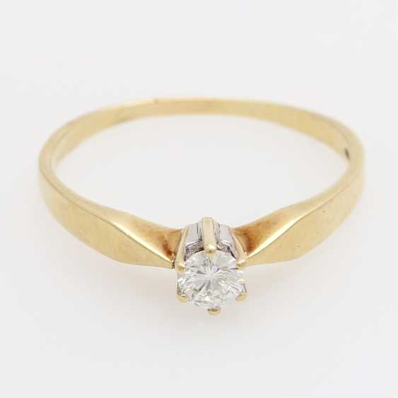 Solitaire Ring with 1 brilliant tenant approximately 0.20 ct., - photo 1