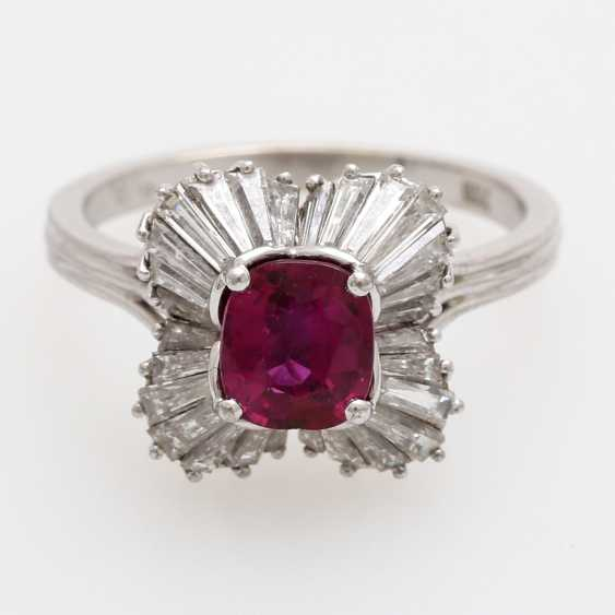 Ladies ring set with a fac. Rubin, - photo 1