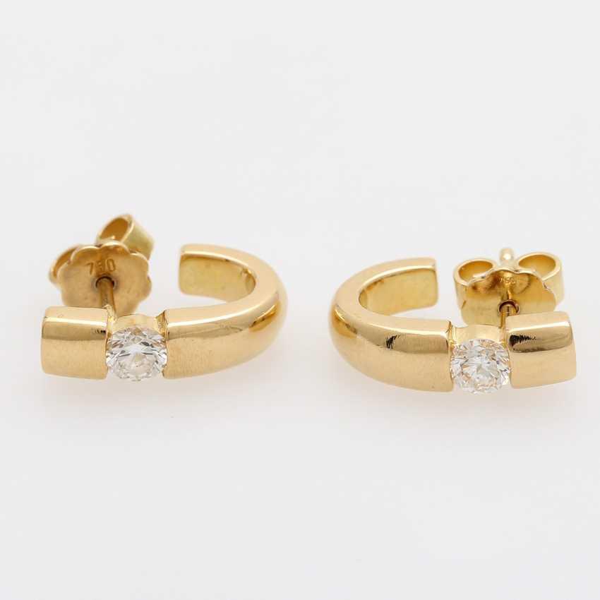 Stud earrings (Pair) . Semi - Hoop earrings, each with 1 brilliant tenant - photo 1