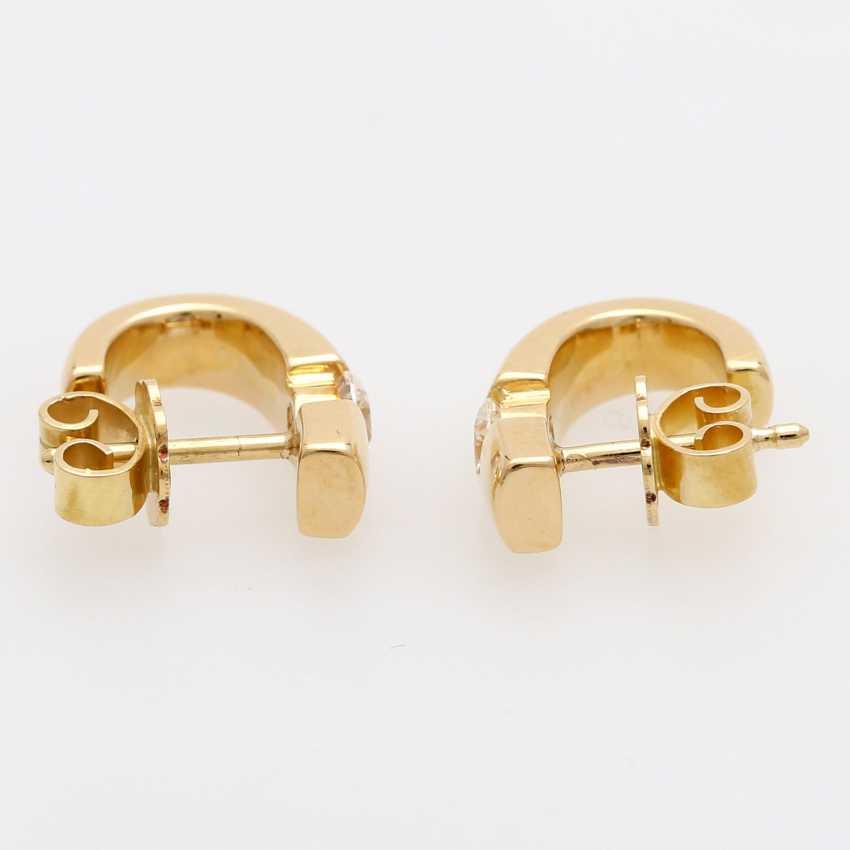 Stud earrings (Pair) . Semi - Hoop earrings, each with 1 brilliant tenant - photo 2