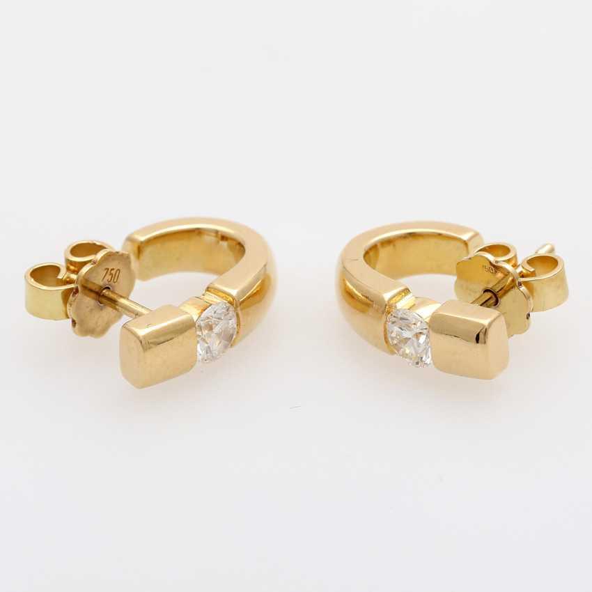Stud earrings (Pair) . Semi - Hoop earrings, each with 1 brilliant tenant - photo 3