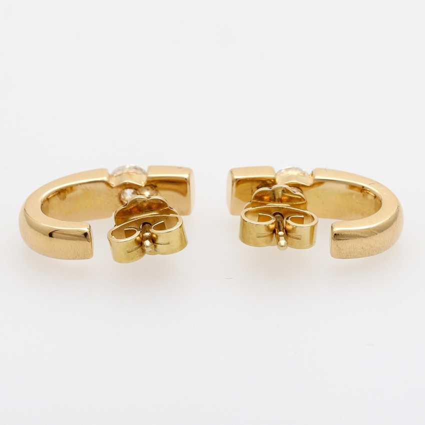 Stud earrings (Pair) . Semi - Hoop earrings, each with 1 brilliant tenant - photo 4