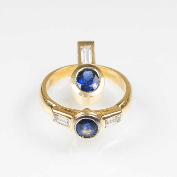 Sapphire and diamond Ring with matching pendant - photo 2