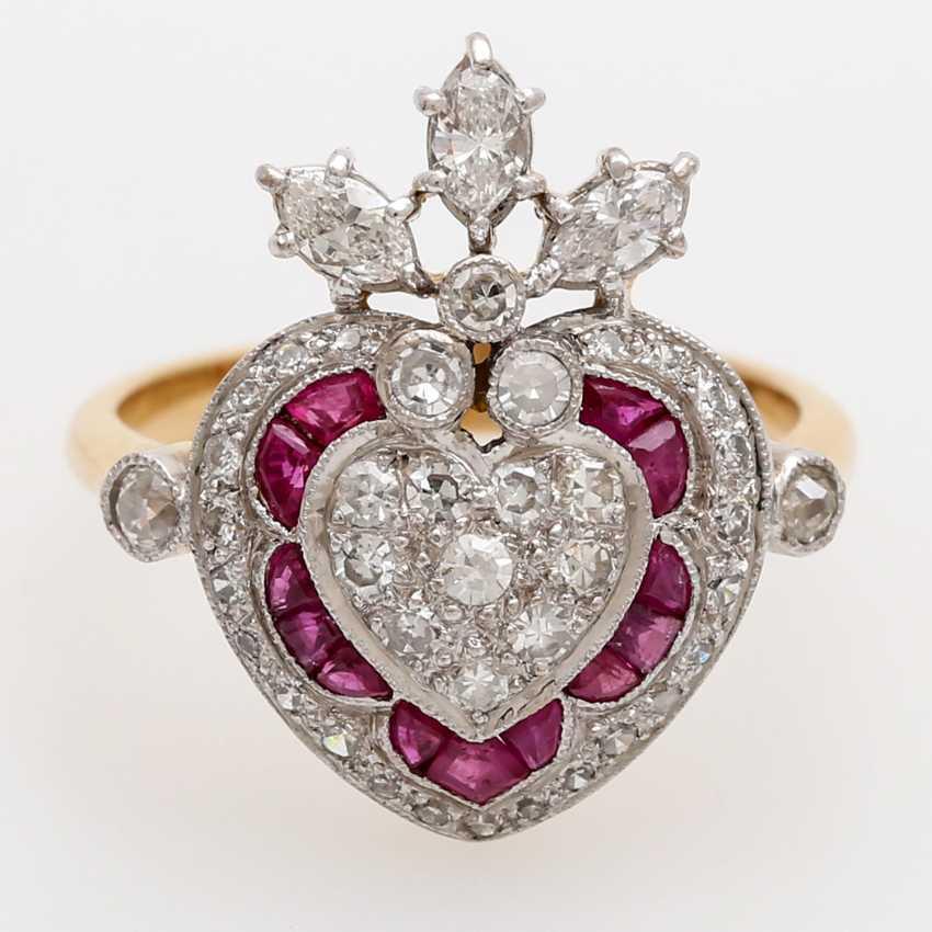Дамы кольцо с бриллиантами и рубинами, - фото 1