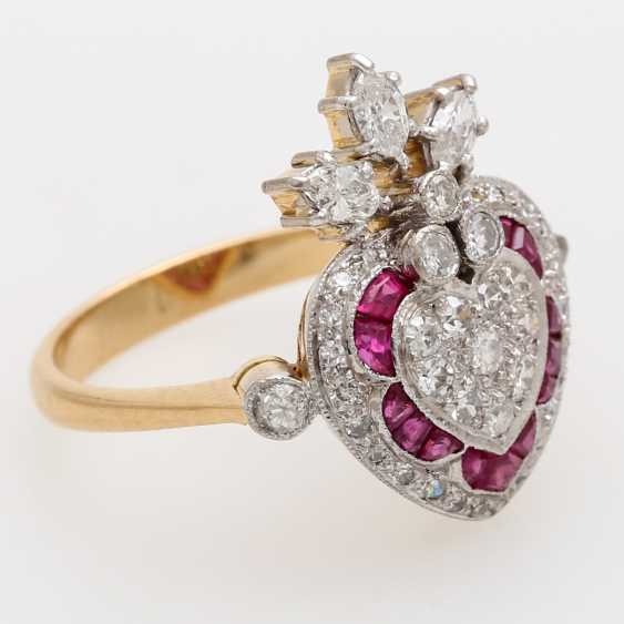 Дамы кольцо с бриллиантами и рубинами, - фото 2