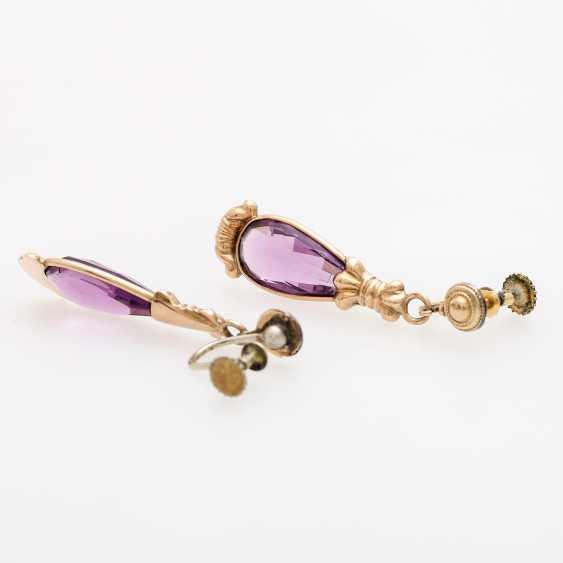 Pair of drop earrings, Biedermeier, with a glass of pampeln, - photo 3