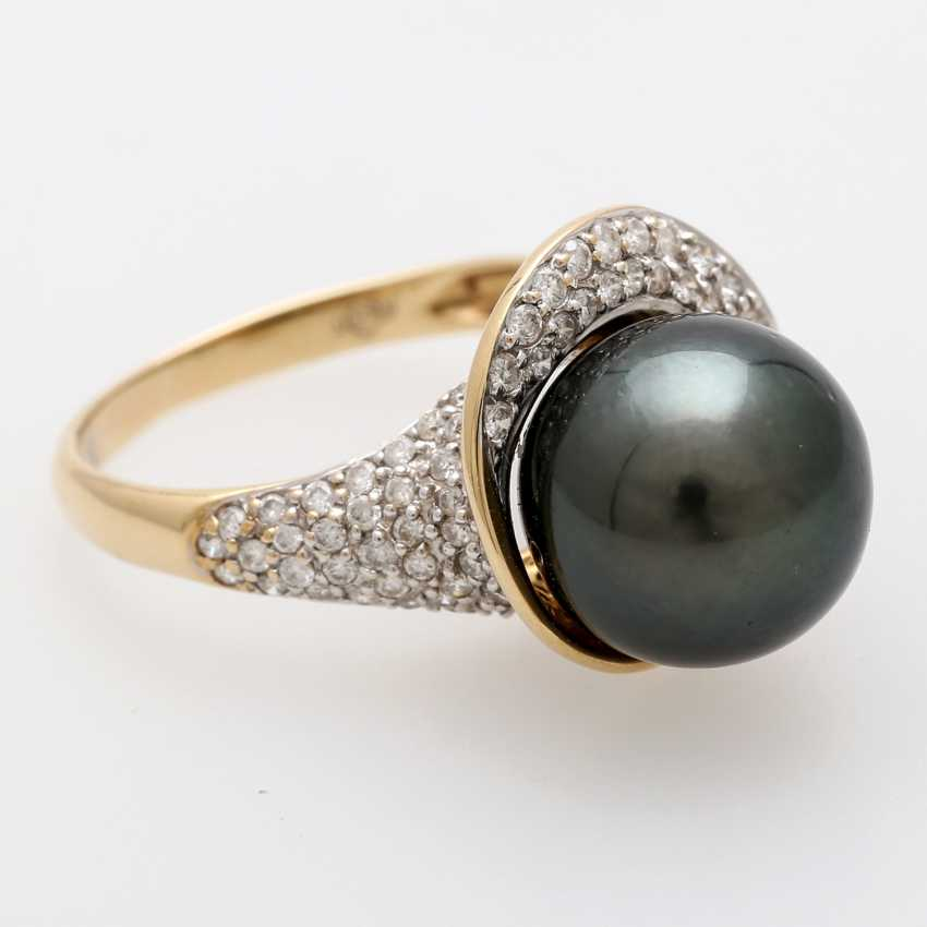 Women's ring-m. Tahitian cultured pearl - photo 1