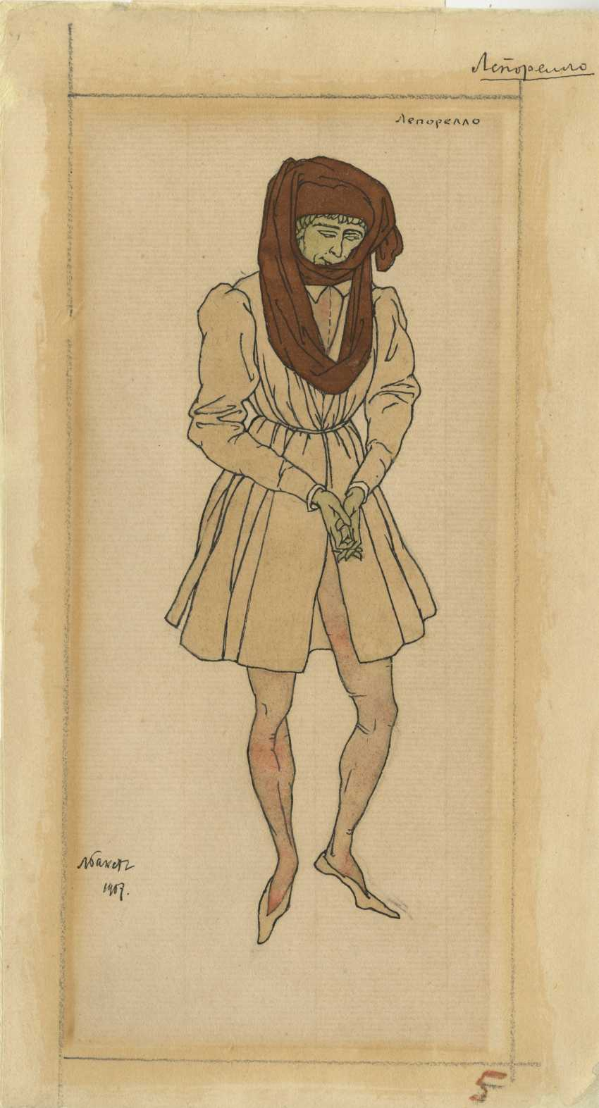 """Corregidor and Leporello, Costume Designs for the Play """"Don Juan Rejected"""" - photo 1"""