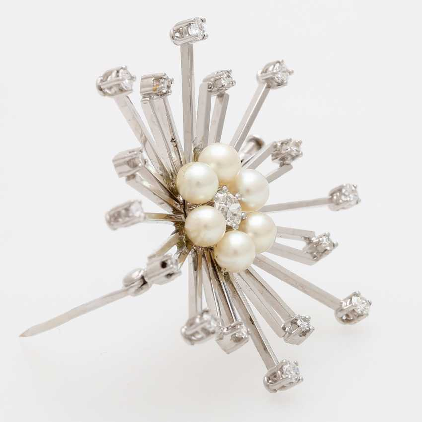 Star brooch m. cultured pearls and diamond - photo 3