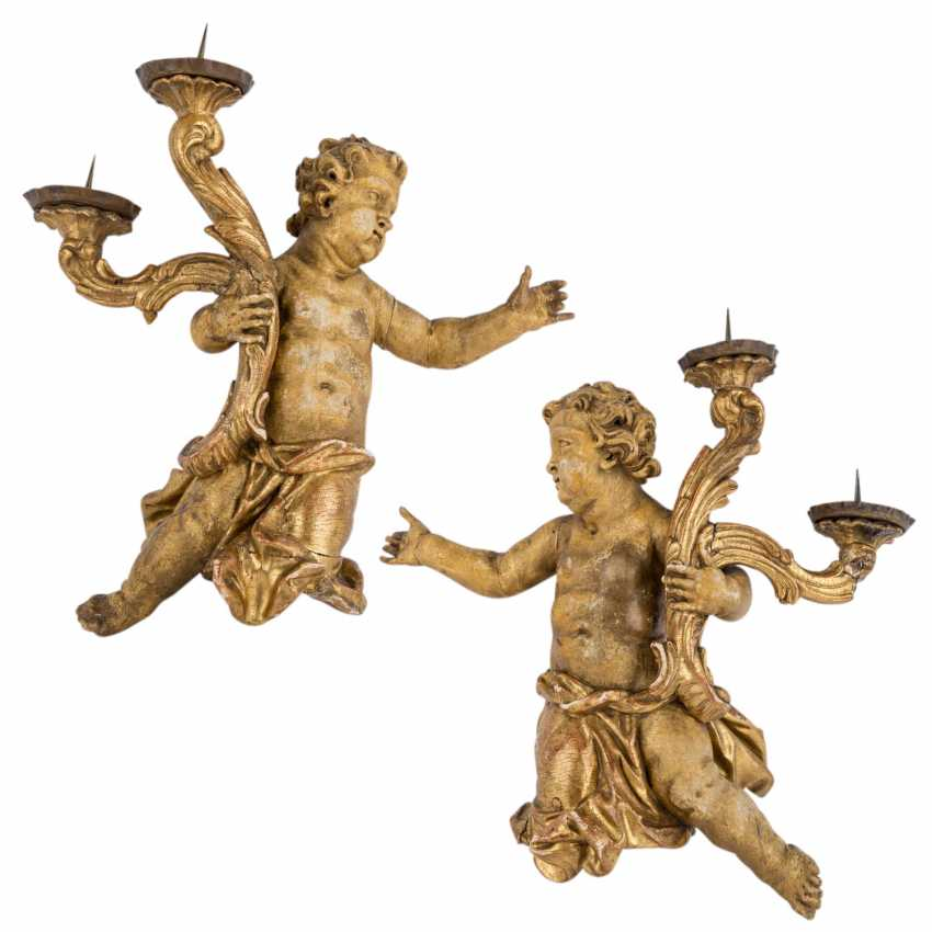 TWO Large altar candlesticks WITH CHERUBS, South German, circa 1740, - photo 1