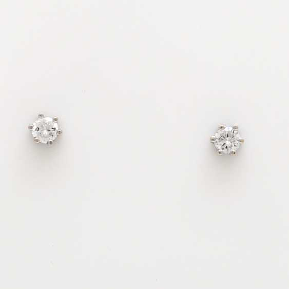 Stud earrings m. 2 brilliant tenanten together about 0.4 ct - photo 1