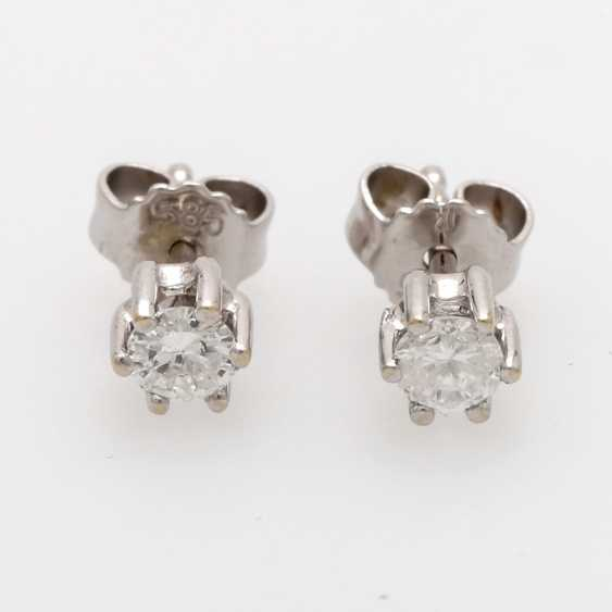 Stud earrings m. 2 brilliant tenanten together about 0.4 ct - photo 2