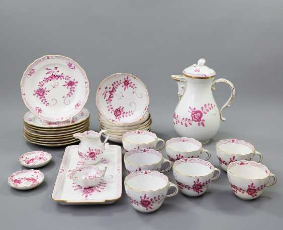 MEISSEN coffee service for 7 persons, 'Indian painting purple', 20. Century - photo 1