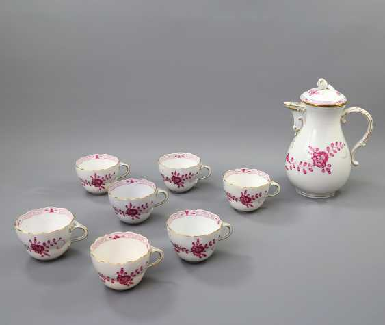 MEISSEN coffee service for 7 persons, 'Indian painting purple', 20. Century - photo 4