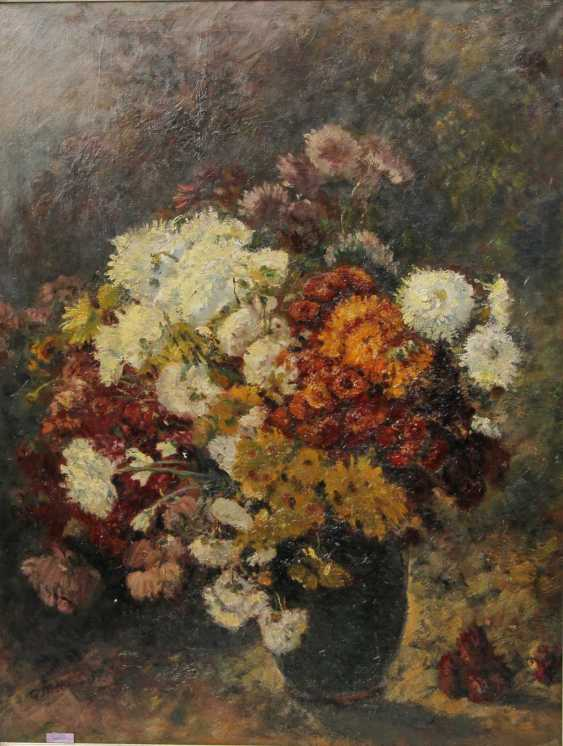 PETERS, ANNA (1843-1926): Blumenstillleben mit Chrysanthemen, 19./20. Jahrhundert - photo 1