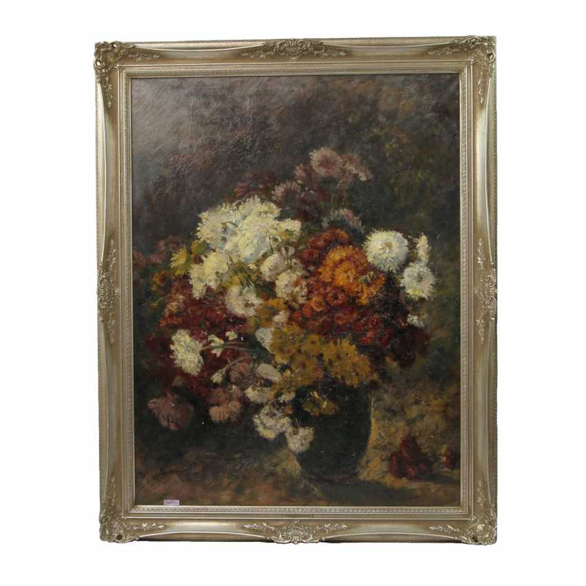 PETERS, ANNA (1843-1926): Blumenstillleben mit Chrysanthemen, 19./20. Jahrhundert - photo 2