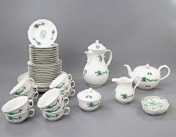 MEISSEN coffee tea service for 11 people, 'Green Ming dragon', 20. Century, 2 Grinding Lines. - photo 1