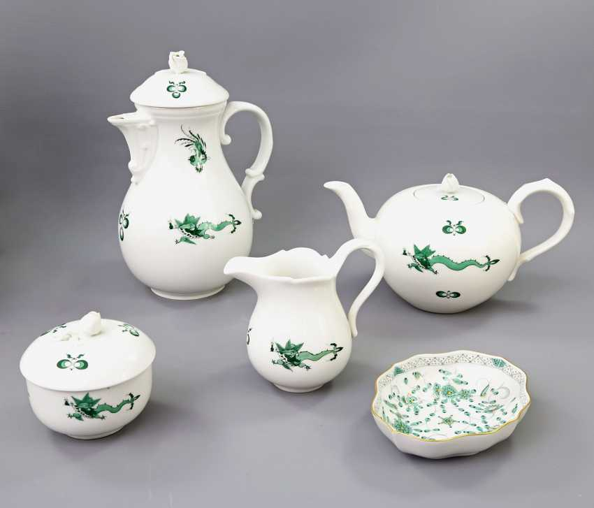 MEISSEN coffee tea service for 11 people, 'Green Ming dragon', 20. Century, 2 Grinding Lines. - photo 2