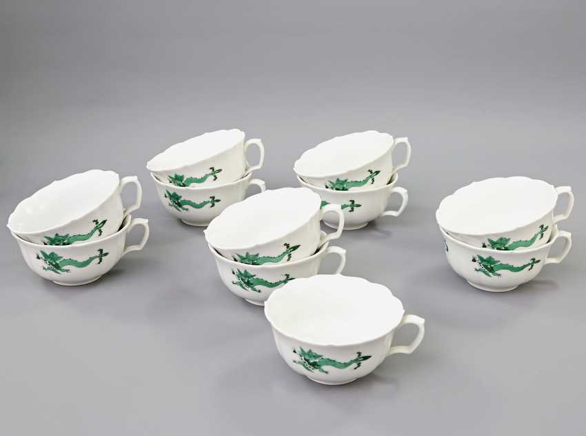 MEISSEN coffee tea service for 11 people, 'Green Ming dragon', 20. Century, 2 Grinding Lines. - photo 4