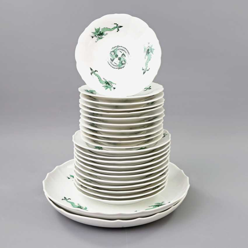 MEISSEN coffee tea service for 11 people, 'Green Ming dragon', 20. Century, 2 Grinding Lines. - photo 5