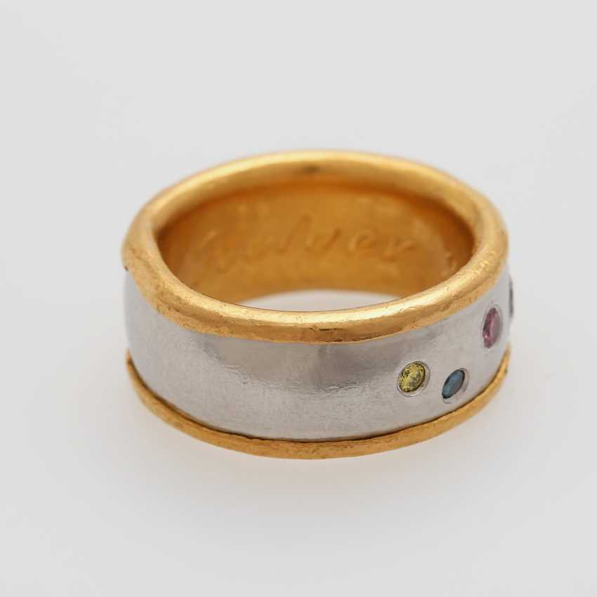 Ring bes. with 7 brilliant-cut diamonds, white and fancy - photo 2