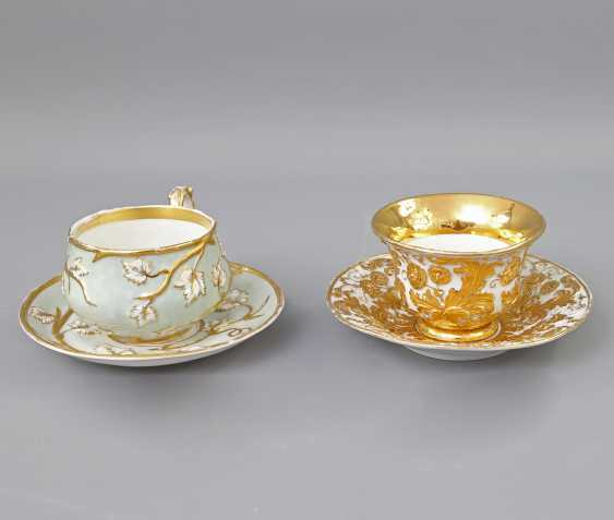 Mixed lot of 2 ceremonial cups with saucers, 19th century. Century: - photo 1