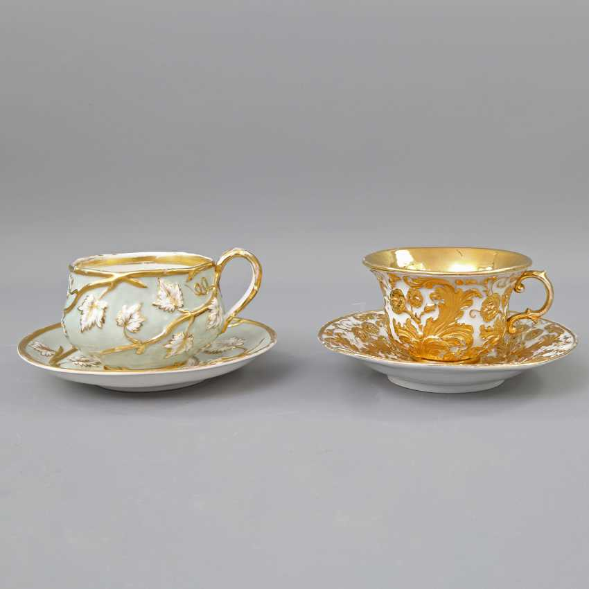 Mixed lot of 2 ceremonial cups with saucers, 19th century. Century: - photo 2