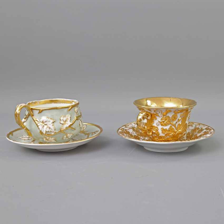 Mixed lot of 2 ceremonial cups with saucers, 19th century. Century: - photo 3
