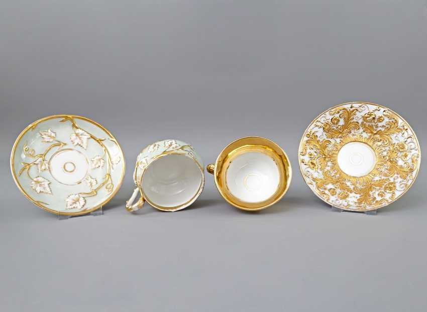 Mixed lot of 2 ceremonial cups with saucers, 19th century. Century: - photo 4