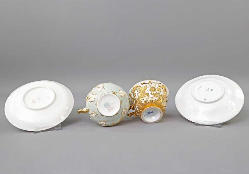 Mixed lot of 2 ceremonial cups with saucers, 19th century. Century: - photo 5