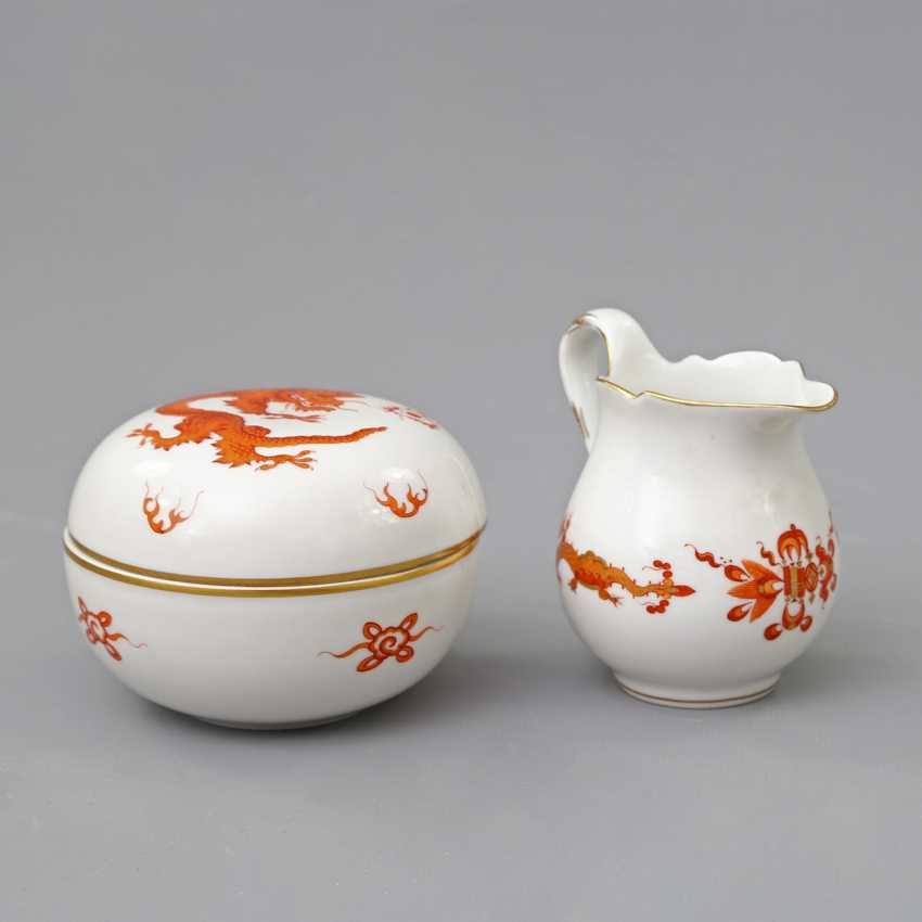 MEISSEN cream jug and lidded box with Dragon patterns, 20. Century - photo 1